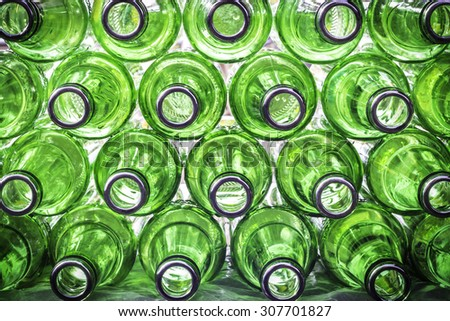 Closeup  empty of green bottle beer background - stock photo