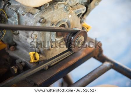 closeup Engines conveyor belt - stock photo