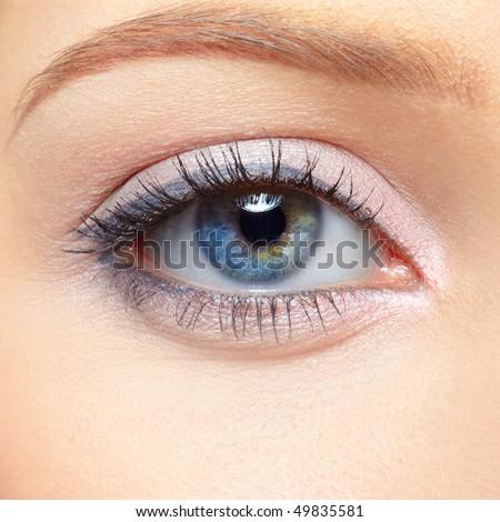 closeup eye-zone portrait of beautiful blonde girl - stock photo