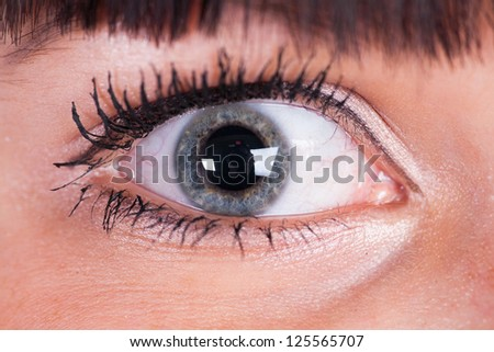 closeup eye-zone portrait of beautiful girl - stock photo