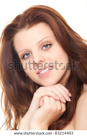 closeup face beautiful woman with clean skin isolated over white background - stock photo