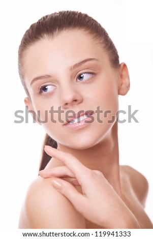 closeup face beautiful woman with healthy clean skin - stock photo