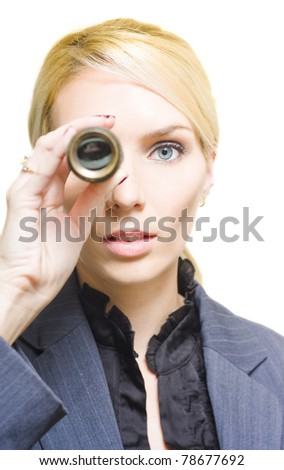 Closeup Face Of A Visionary Business Woman Or Person Looking Through A Vintage And Retro Telescope On An Inspiring Journey Of Business Development And Expansion - stock photo