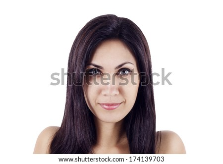 Closeup face of young beautiful woman - stock photo