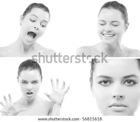 Closeup face portrait of beautiful young passionate woman with large eyes; front view - stock photo