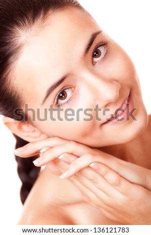 closeup face young woman with healthy clean skin - stock photo