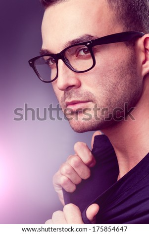 closeup fashion portrait of a young man - he is now a professional model - stock photo
