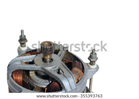 Closeup fragment of old electric motor. Isolated on white background - stock photo