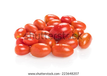 closeup fresh ripe cherry tomatoes - stock photo