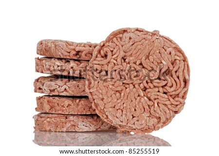 closeup frozen hamburgers - stock photo