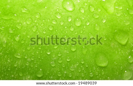 Closeup green apple with water-drops - stock photo