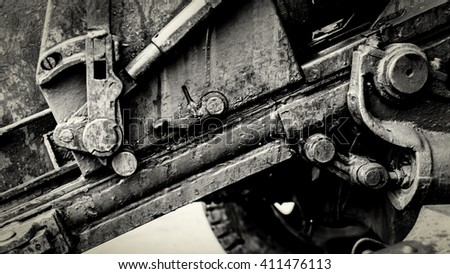 Closeup grunge image of an Industrial engine Machine with monochrome texture and toning. Nobody present in the art photograph. - stock photo