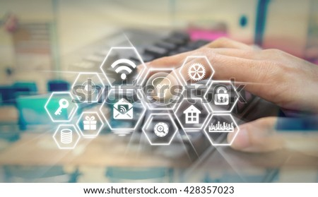 closeup hand press the enter button of keyboard on the Social media symbol on Internet network concept background,Elements of this image furnished by NASA, Business technology concept - stock photo