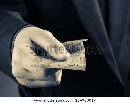 Closeup hand with Australian banknote - stock photo