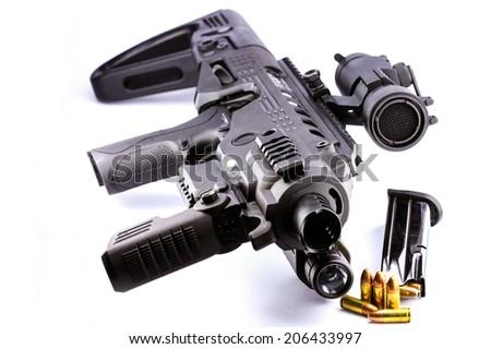 Closeup handgun 9mm upgrade is rifle - stock photo