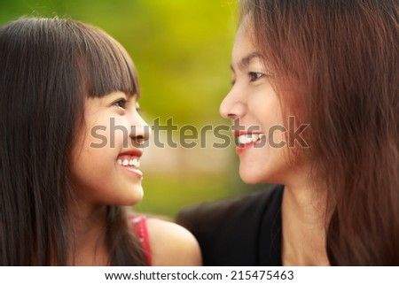 Closeup happy mother and child girl - stock photo