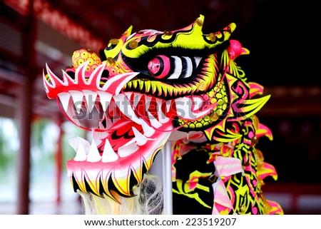 closeup head dancing dragon china  - stock photo