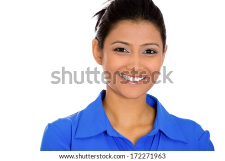 Closeup head shot portrait of confident smiling happy pretty young woman wearing blue shirt, isolated on white background. Positive expression facial expression feelings, attitude, perception - stock photo