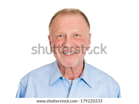 Closeup head shot portrait of happy, confident, cheerful, smiling senior mature man, isolated on white background. Positive human emotions, facial expressions, feelings, attitude - stock photo