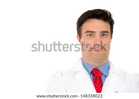 Closeup head shot portrait of smiling male healthcare professional or pharmacist or dentist or scientist or doctor or nurse wearing red tie, isolated on white background with copy space - stock photo