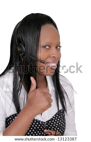 closeup headshot of an African American woman giving a thumbs up sign over white - stock photo