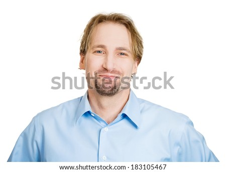 Closeup headshot portrait handsome, successful, happy, young business man, confident grad student, entrepreneur, isolated white background. Positive face expressions, emotions, feelings, attitude. - stock photo