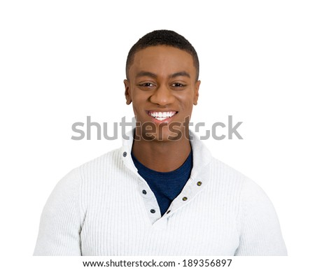 Closeup headshot portrait, handsome, successful, happy, young business man, confident grad student, entrepreneur, isolated white background. Positive face expressions, emotions, feelings, attitude. - stock photo