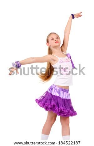 closeup image of a dancing beautiful blonde teenage girl - stock photo