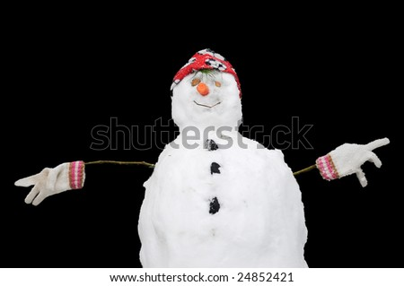 closeup image of a snowman - stock photo