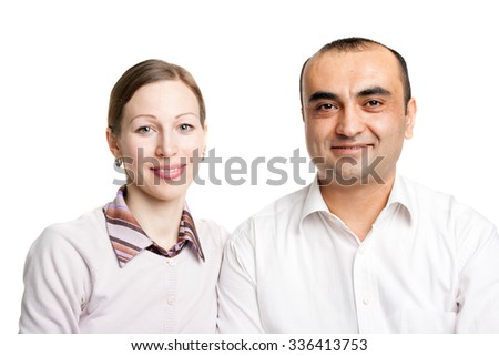 closeup image of a young interracial couple - stock photo