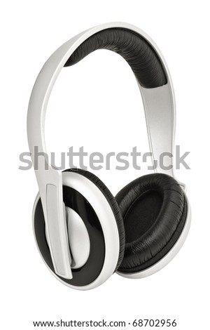 Closeup image of headphones, isolated on white background - stock photo