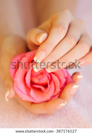 Closeup image of pink french manicure with rose - stock photo