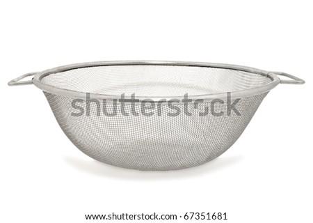 Closeup image of sieve, isolated on white background - stock photo