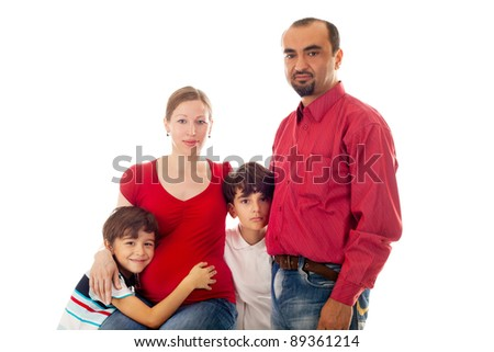 closeup image of the big family expecting the baby - stock photo