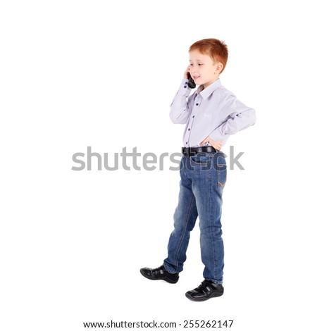 closeup image of the cute little boy - stock photo