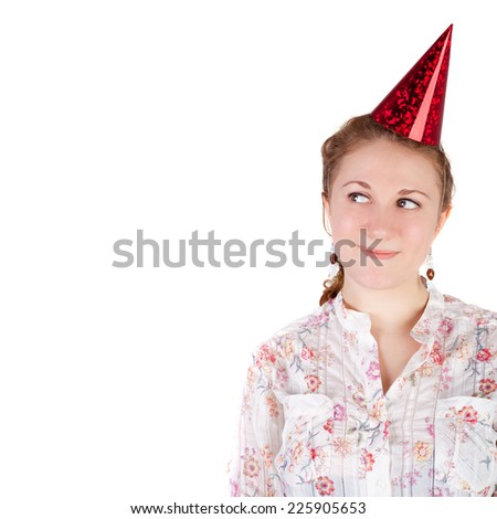 closeup image of the pretty young girl in the birthday cap - stock photo
