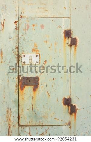 closeup image of the rusty garage door - stock photo