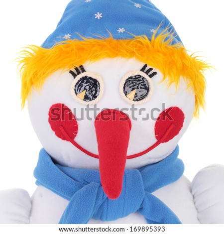 closeup image of the snowman made of textile - stock photo