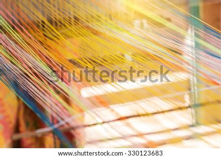 closeup image of weaving Loom, details. - stock photo