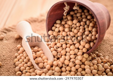 closeup is some soybeans with wooden spoon with sack background - stock photo