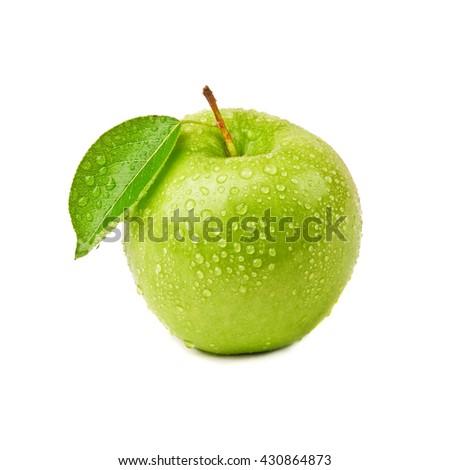 closeup isolated juicy green apple - stock photo
