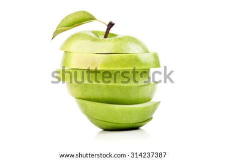 closeup isolated sliced green apple - stock photo
