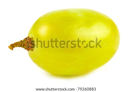 Closeup macro green grape on white - stock photo