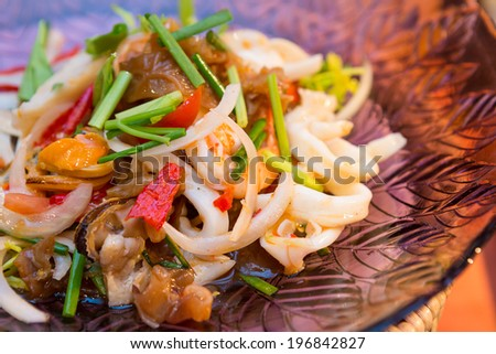 Closeup Macro Thailand Mix Seafood Salad or Yum - stock photo