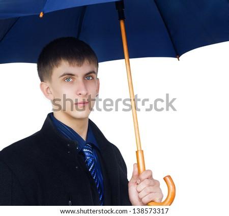 Closeup man holding blue umbrella  isolated on white background - stock photo