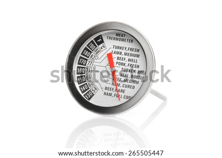 closeup meat thermometer scale isolated on white background - stock photo