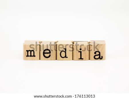 closeup media wording isolate on white background, communication and business concept and idea. - stock photo