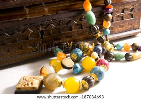 Closeup, necklaces with colored stones, jewelry, bijouteria - stock photo