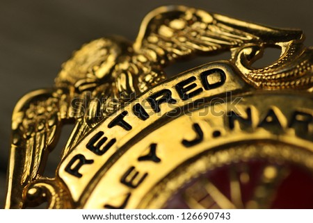 Closeup of a badge awarded to a civil servant - stock photo