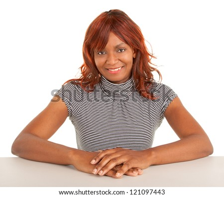 Closeup of a Beautiful African American Lady - stock photo